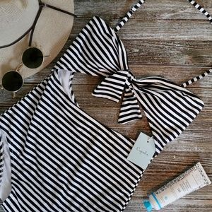Cupshe Black & White Ruched One-Piece Swimsuit